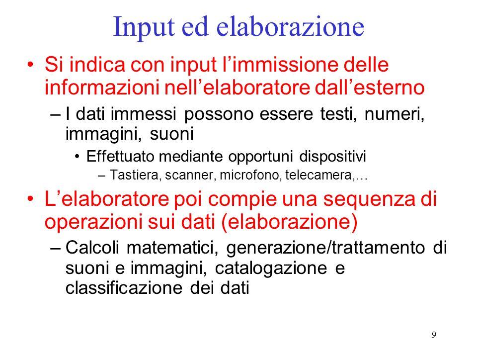 9 Input ed elaborazione Si indica con input limmissione delle informazioni nellelaboratore dallesterno –I dati immessi possono essere testi, numeri, i