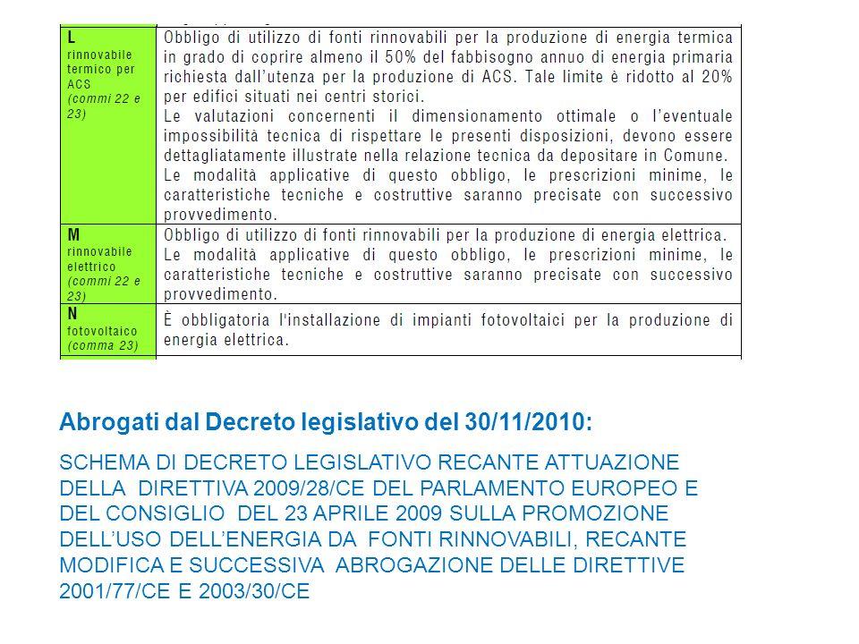 Abrogati dal Decreto legislativo del 30/11/2010: SCHEMA DI DECRETO LEGISLATIVO RECANTE ATTUAZIONE DELLA DIRETTIVA 2009/28/CE DEL PARLAMENTO EUROPEO E