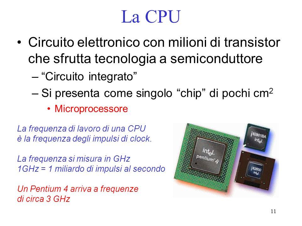 11 La CPU Circuito elettronico con milioni di transistor che sfrutta tecnologia a semiconduttore –Circuito integrato –Si presenta come singolo chip di