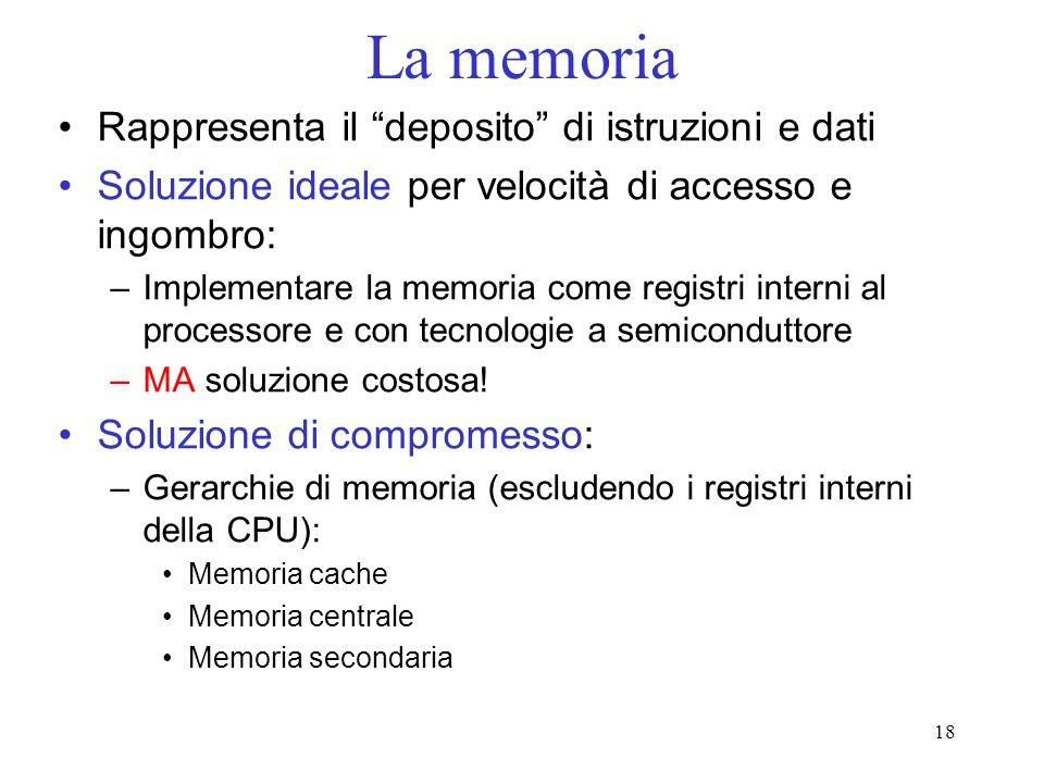 18 La memoria Rappresenta il deposito di istruzioni e dati Soluzione ideale per velocità di accesso e ingombro: –Implementare la memoria come registri