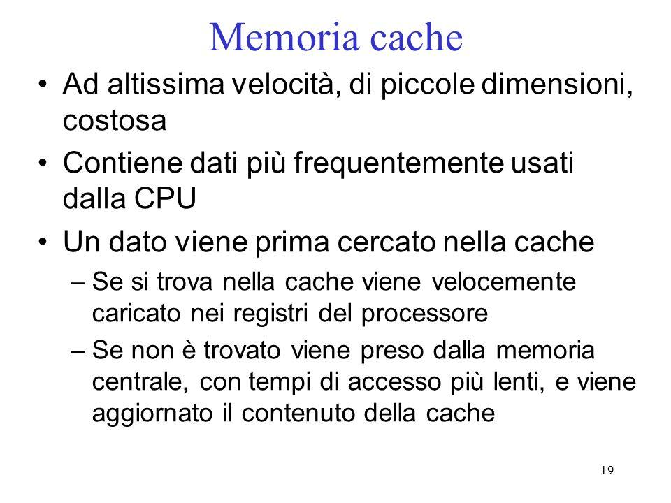 19 Memoria cache Ad altissima velocità, di piccole dimensioni, costosa Contiene dati più frequentemente usati dalla CPU Un dato viene prima cercato ne