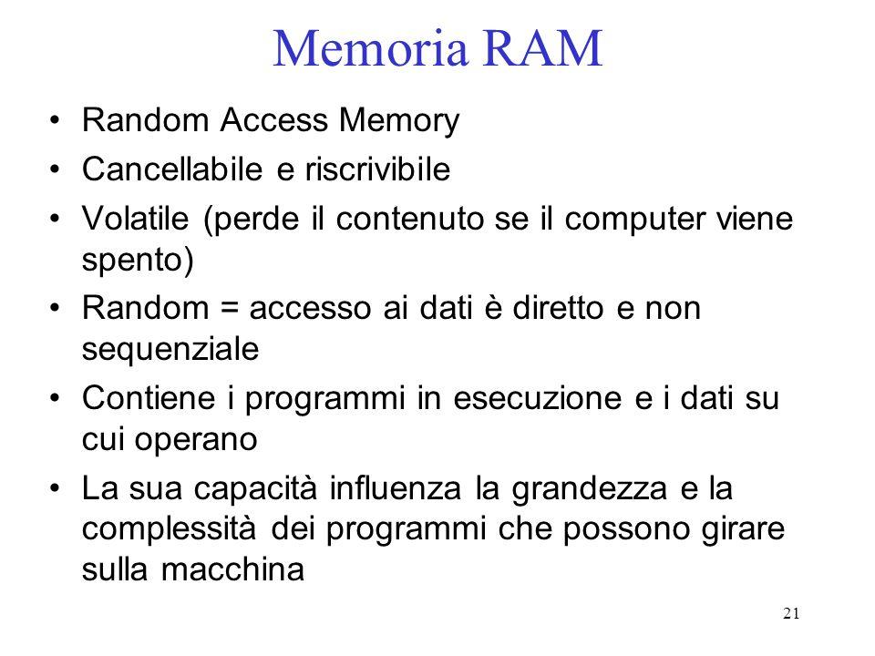 21 Memoria RAM Random Access Memory Cancellabile e riscrivibile Volatile (perde il contenuto se il computer viene spento) Random = accesso ai dati è d