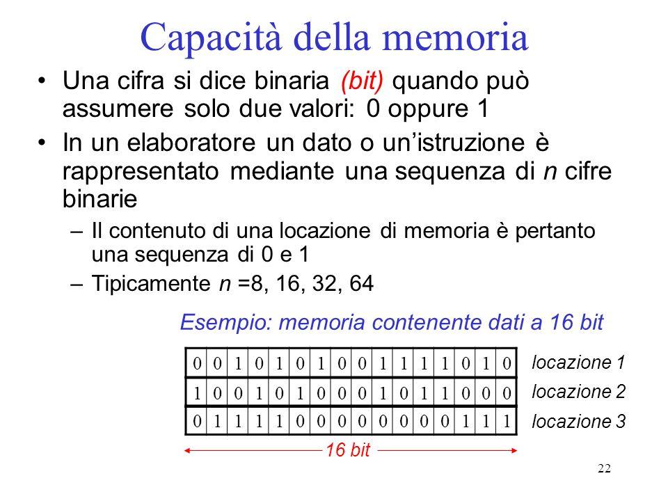 22 Capacità della memoria Una cifra si dice binaria (bit) quando può assumere solo due valori: 0 oppure 1 In un elaboratore un dato o unistruzione è r