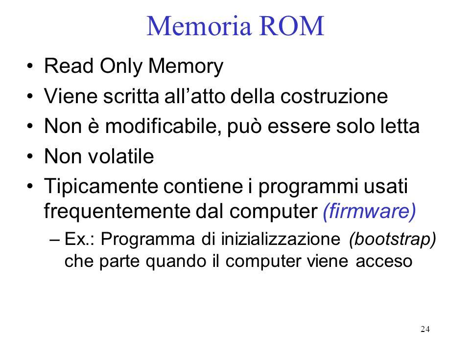 24 Memoria ROM Read Only Memory Viene scritta allatto della costruzione Non è modificabile, può essere solo letta Non volatile Tipicamente contiene i