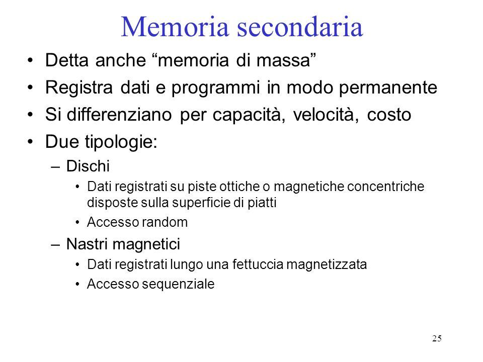 25 Memoria secondaria Detta anche memoria di massa Registra dati e programmi in modo permanente Si differenziano per capacità, velocità, costo Due tip