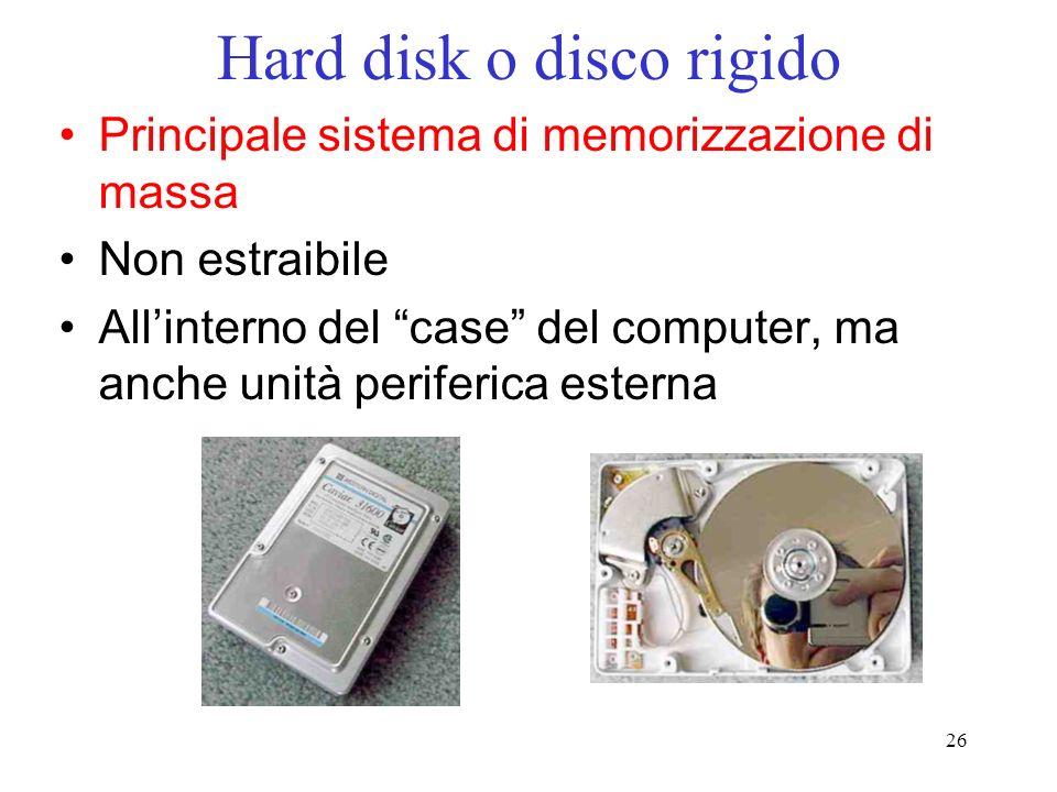 26 Hard disk o disco rigido Principale sistema di memorizzazione di massa Non estraibile Allinterno del case del computer, ma anche unità periferica e
