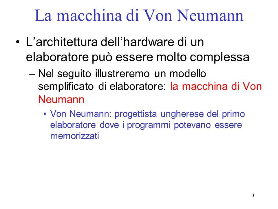 3 La macchina di Von Neumann Larchitettura dellhardware di un elaboratore può essere molto complessa –Nel seguito illustreremo un modello semplificato
