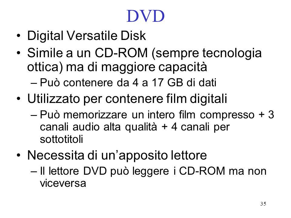 35 DVD Digital Versatile Disk Simile a un CD-ROM (sempre tecnologia ottica) ma di maggiore capacità –Può contenere da 4 a 17 GB di dati Utilizzato per