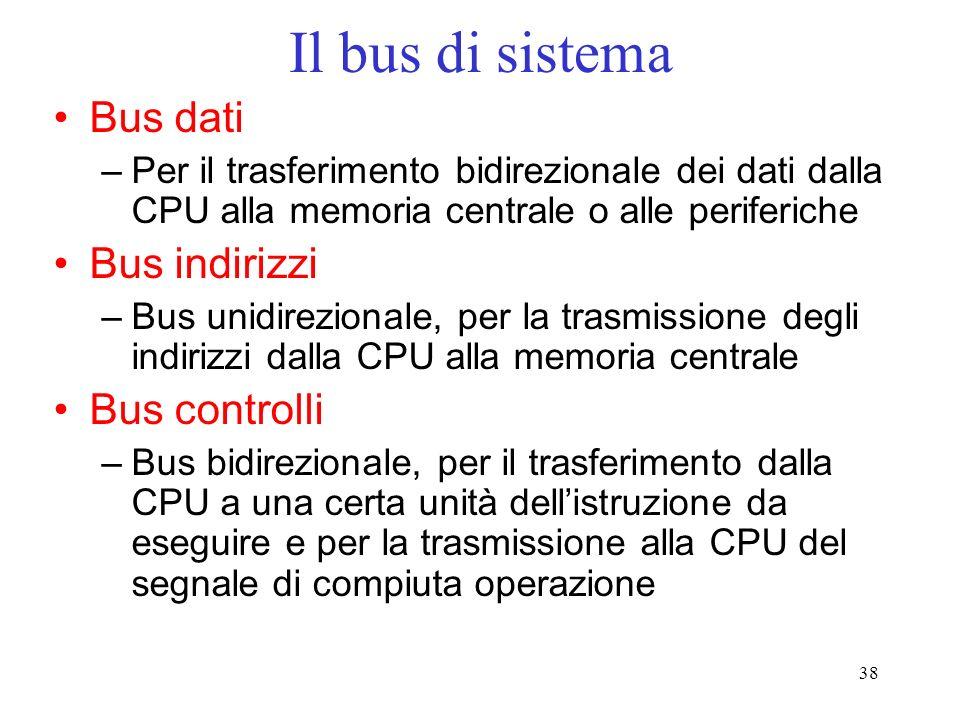 38 Il bus di sistema Bus dati –Per il trasferimento bidirezionale dei dati dalla CPU alla memoria centrale o alle periferiche Bus indirizzi –Bus unidi