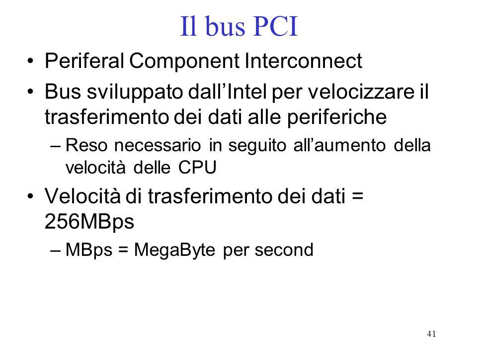 41 Il bus PCI Periferal Component Interconnect Bus sviluppato dallIntel per velocizzare il trasferimento dei dati alle periferiche –Reso necessario in