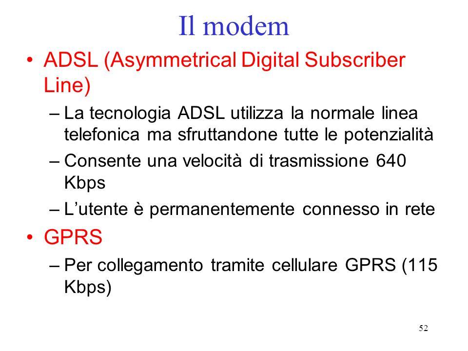 52 Il modem ADSL (Asymmetrical Digital Subscriber Line) –La tecnologia ADSL utilizza la normale linea telefonica ma sfruttandone tutte le potenzialità