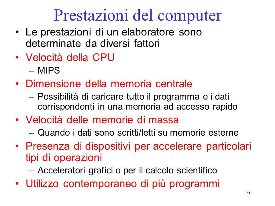 56 Prestazioni del computer Le prestazioni di un elaboratore sono determinate da diversi fattori Velocità della CPU –MIPS Dimensione della memoria cen