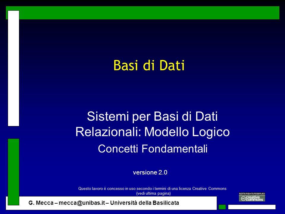 G. Mecca – mecca@unibas.it – Università della Basilicata Basi di Dati Sistemi per Basi di Dati Relazionali: Modello Logico Concetti Fondamentali versi
