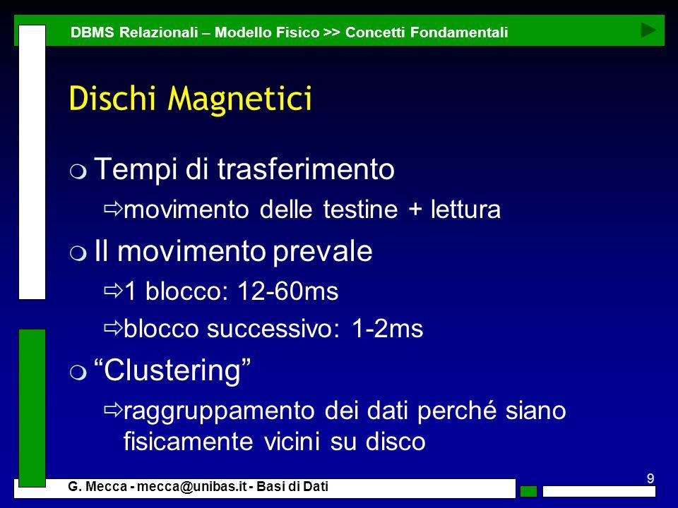 9 G. Mecca - mecca@unibas.it - Basi di Dati Dischi Magnetici m Tempi di trasferimento movimento delle testine + lettura m Il movimento prevale 1 blocc