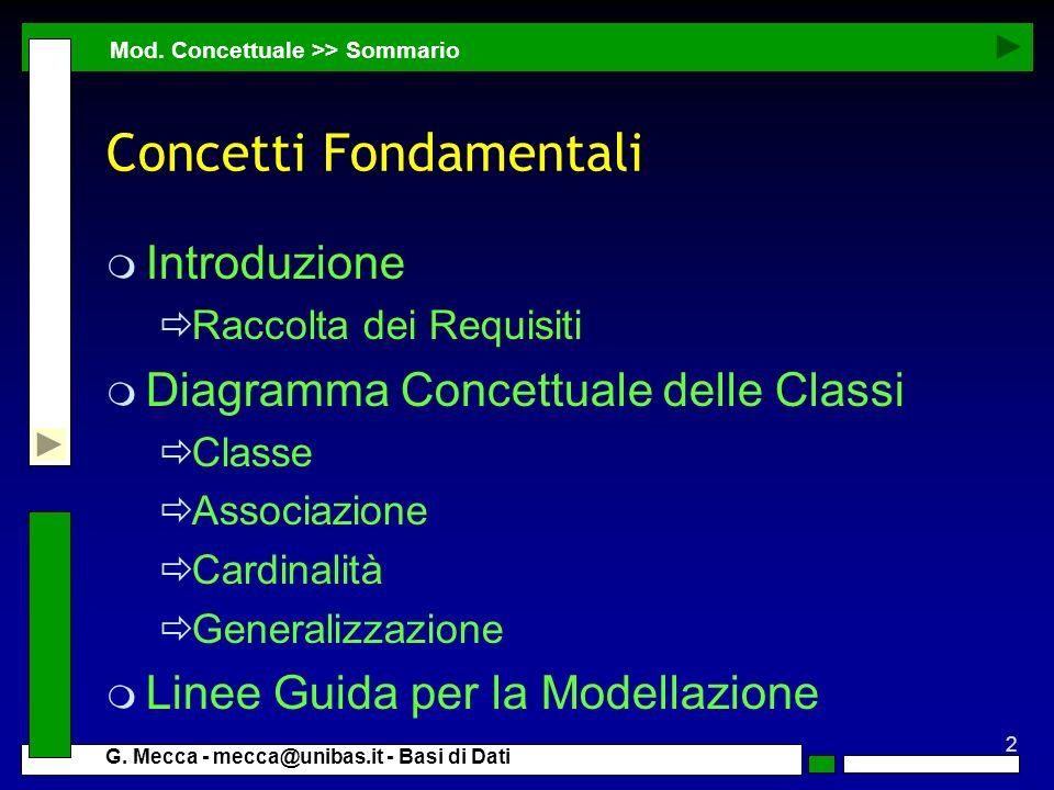 2 G. Mecca - mecca@unibas.it - Basi di Dati Concetti Fondamentali m Introduzione Raccolta dei Requisiti m Diagramma Concettuale delle Classi Classe As
