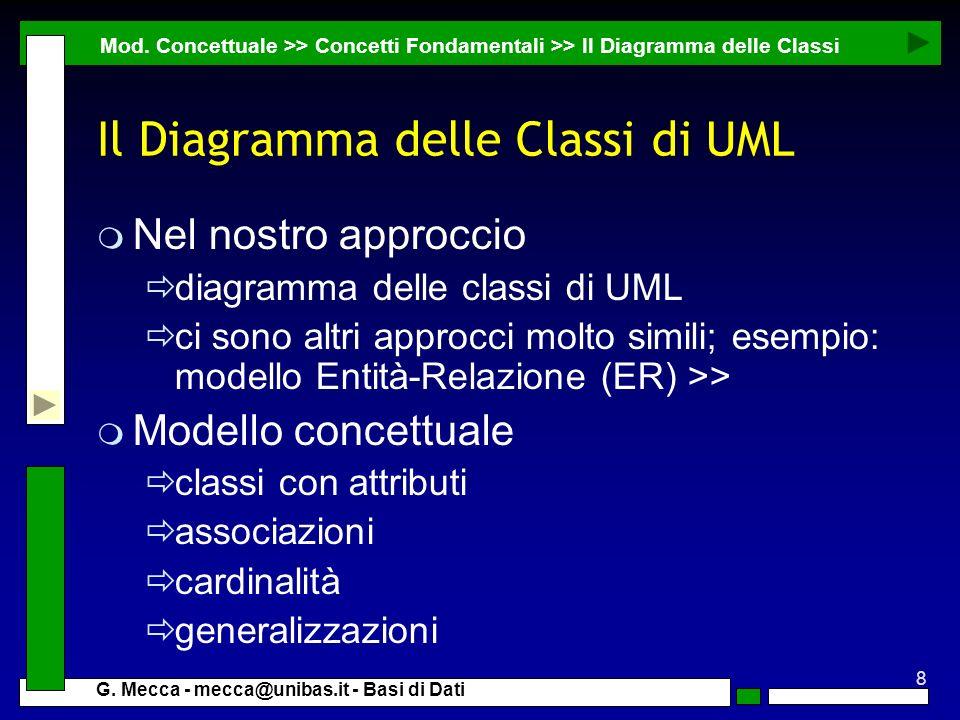 8 G. Mecca - mecca@unibas.it - Basi di Dati Il Diagramma delle Classi di UML m Nel nostro approccio diagramma delle classi di UML ci sono altri approc