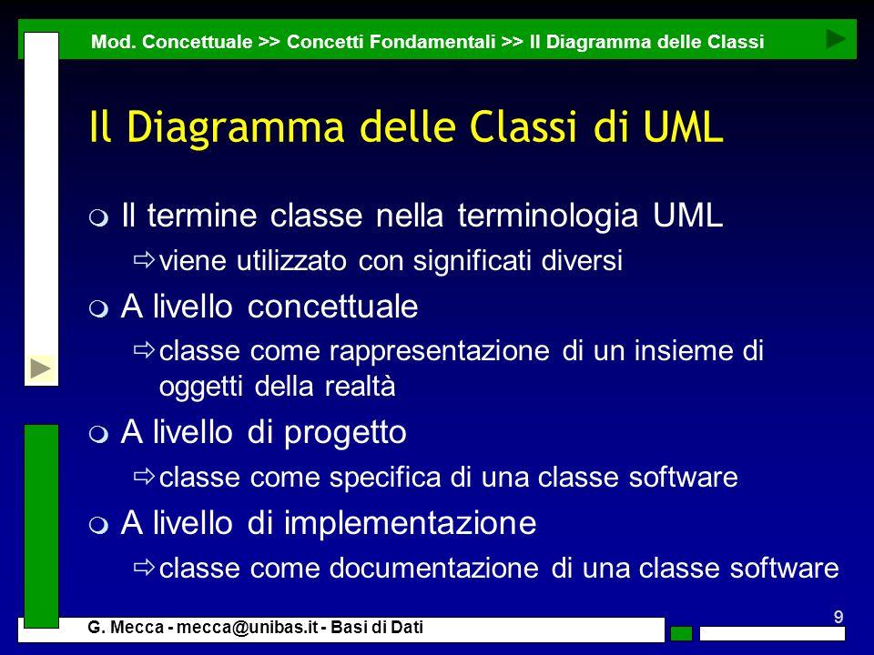9 G. Mecca - mecca@unibas.it - Basi di Dati Il Diagramma delle Classi di UML m Il termine classe nella terminologia UML viene utilizzato con significa