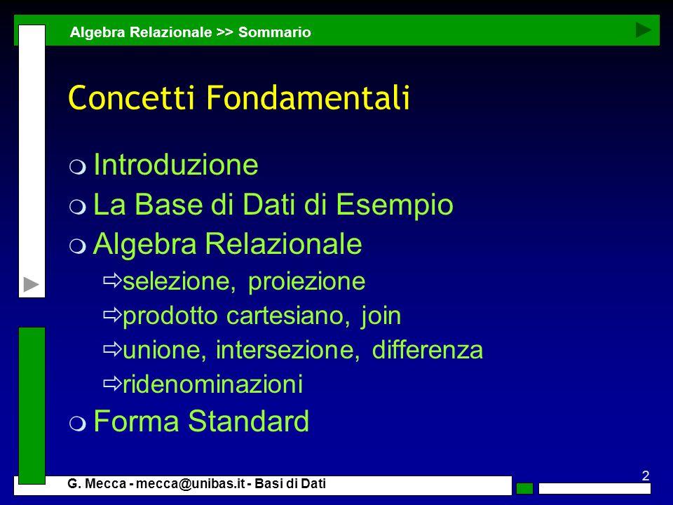 2 G. Mecca - mecca@unibas.it - Basi di Dati Concetti Fondamentali m Introduzione m La Base di Dati di Esempio m Algebra Relazionale selezione, proiezi