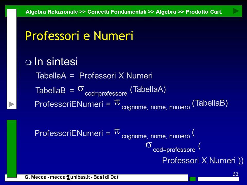 33 G. Mecca - mecca@unibas.it - Basi di Dati Professori e Numeri m In sintesi Algebra Relazionale >> Concetti Fondamentali >> Algebra >> Prodotto Cart