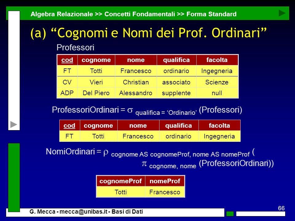 66 G. Mecca - mecca@unibas.it - Basi di Dati (a) Cognomi e Nomi dei Prof. Ordinari Algebra Relazionale >> Concetti Fondamentali >> Forma Standard Prof