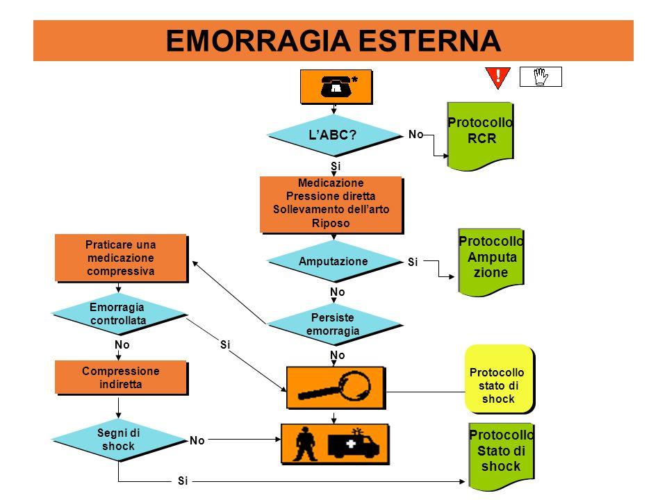 EMORRAGIA ESTERNA LABC? Protocollo RCR Medicazione Pressione diretta Sollevamento dellarto Riposo Medicazione Pressione diretta Sollevamento dellarto