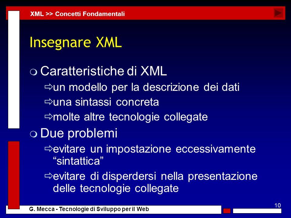 10 G. Mecca - Tecnologie di Sviluppo per il Web Insegnare XML m Caratteristiche di XML un modello per la descrizione dei dati una sintassi concreta mo