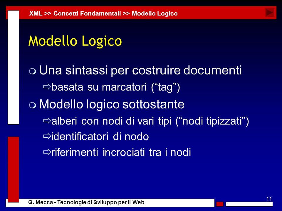 11 G. Mecca - Tecnologie di Sviluppo per il Web Modello Logico m Una sintassi per costruire documenti basata su marcatori (tag) m Modello logico sotto