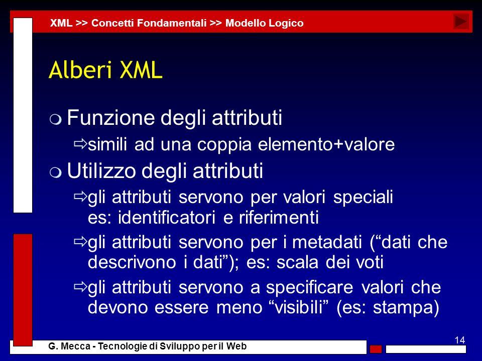 14 G. Mecca - Tecnologie di Sviluppo per il Web Alberi XML m Funzione degli attributi simili ad una coppia elemento+valore m Utilizzo degli attributi