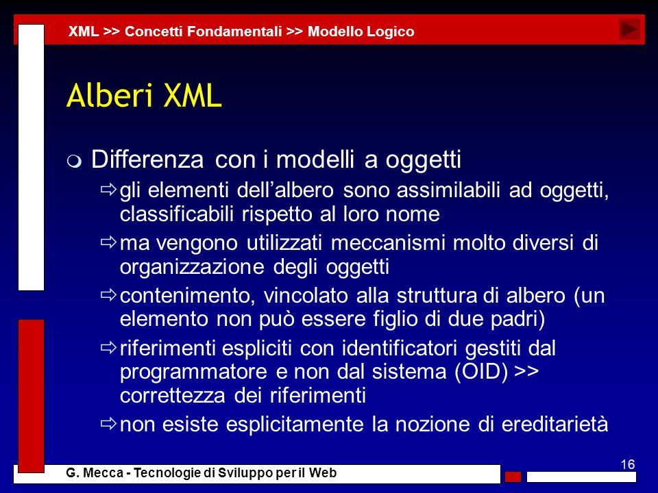 16 G. Mecca - Tecnologie di Sviluppo per il Web Alberi XML m Differenza con i modelli a oggetti gli elementi dellalbero sono assimilabili ad oggetti,