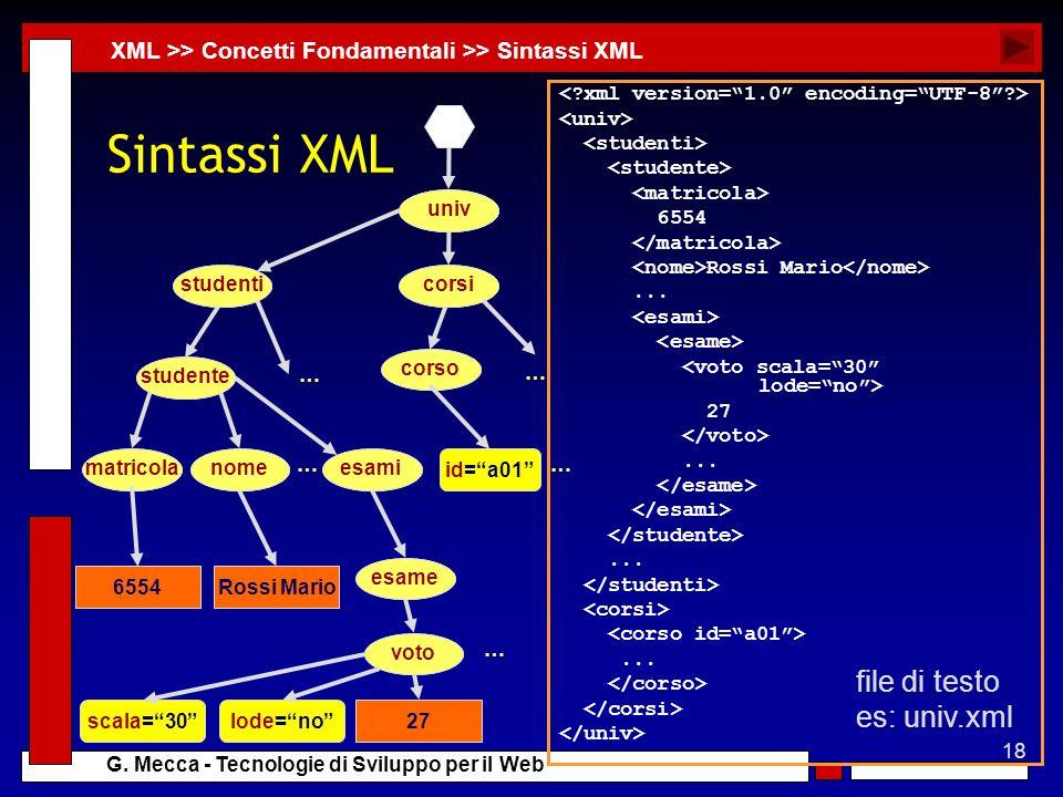 18 G. Mecca - Tecnologie di Sviluppo per il Web Sintassi XML 6554 Rossi Mario... 27......... XML >> Concetti Fondamentali >> Sintassi XML id=a01 … … u