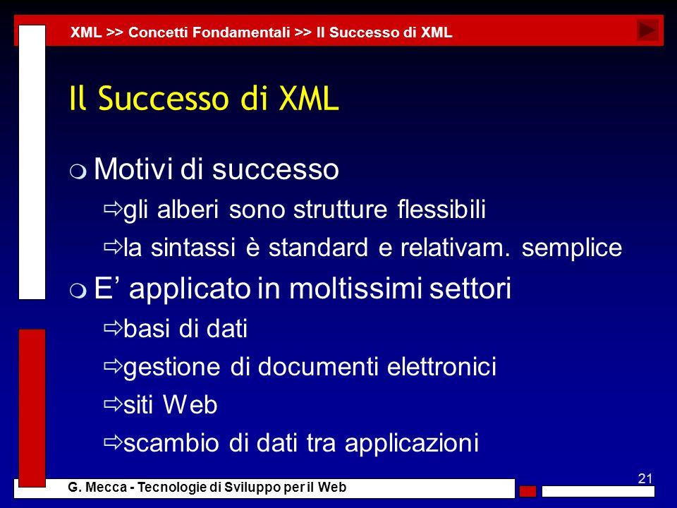 21 G. Mecca - Tecnologie di Sviluppo per il Web Il Successo di XML m Motivi di successo gli alberi sono strutture flessibili la sintassi è standard e