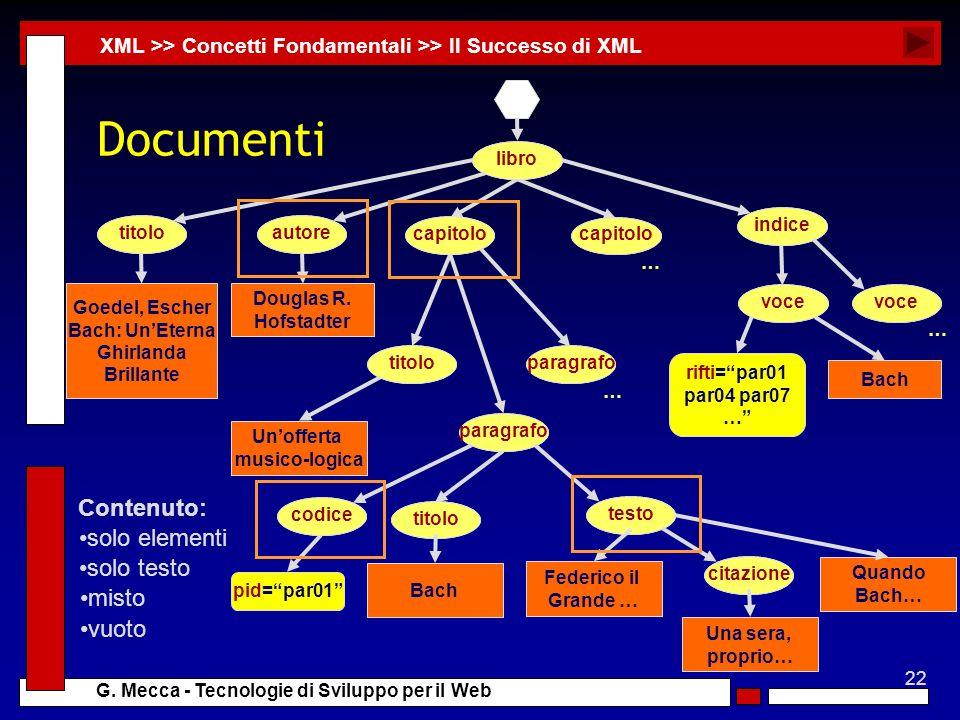 22 G. Mecca - Tecnologie di Sviluppo per il Web Documenti XML >> Concetti Fondamentali >> Il Successo di XML rifti=par01 par04 par07 … … … libroindice