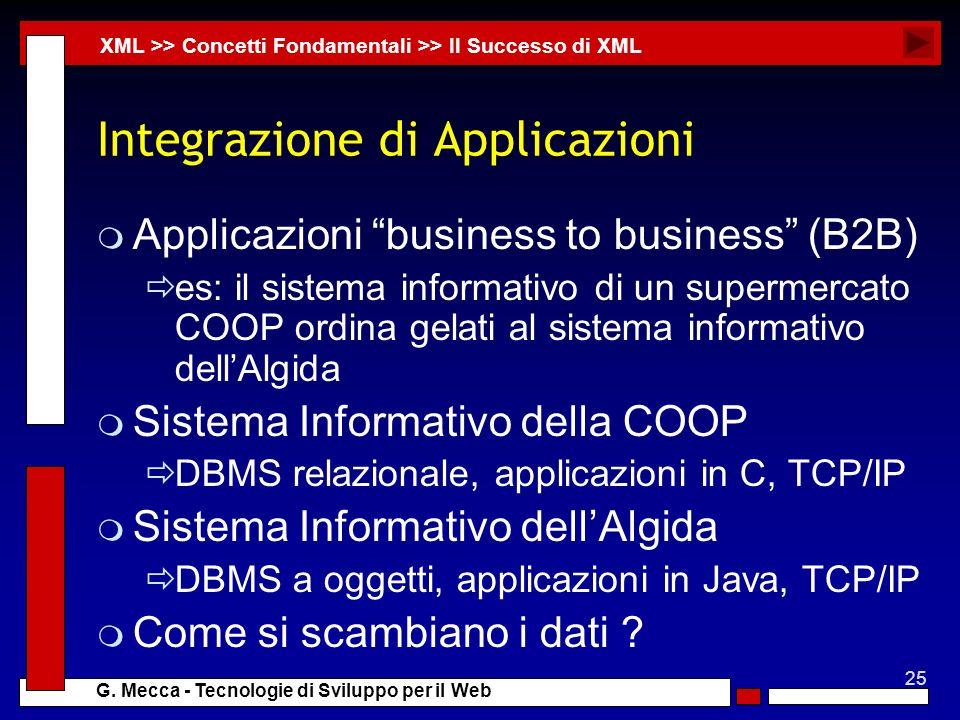 25 G. Mecca - Tecnologie di Sviluppo per il Web Integrazione di Applicazioni m Applicazioni business to business (B2B) es: il sistema informativo di u