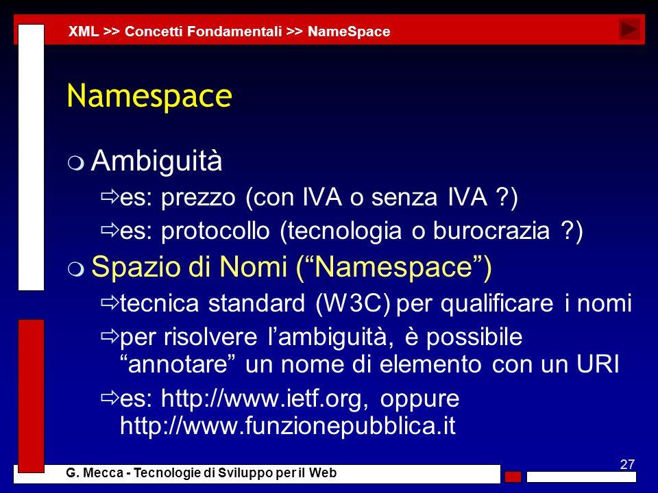 27 G. Mecca - Tecnologie di Sviluppo per il Web Namespace m Ambiguità es: prezzo (con IVA o senza IVA ?) es: protocollo (tecnologia o burocrazia ?) m