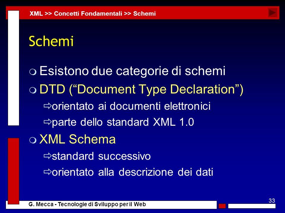 33 G. Mecca - Tecnologie di Sviluppo per il Web Schemi m Esistono due categorie di schemi m DTD (Document Type Declaration) orientato ai documenti ele