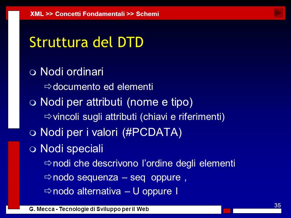 35 G. Mecca - Tecnologie di Sviluppo per il Web Struttura del DTD m Nodi ordinari documento ed elementi m Nodi per attributi (nome e tipo) vincoli sug