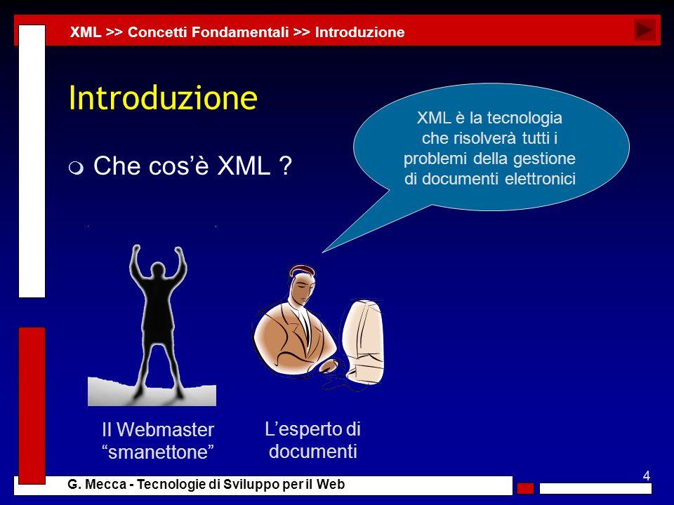 4 G. Mecca - Tecnologie di Sviluppo per il Web Introduzione m Che cosè XML ? XML >> Concetti Fondamentali >> Introduzione Il Webmaster smanettone Lesp