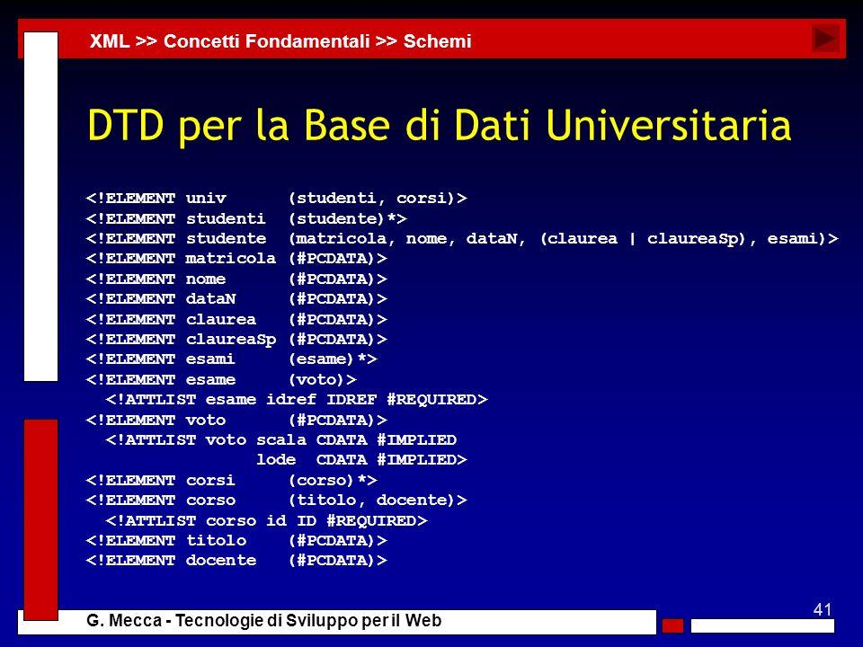 41 G. Mecca - Tecnologie di Sviluppo per il Web DTD per la Base di Dati Universitaria <!ATTLIST voto scala CDATA #IMPLIED lode CDATA #IMPLIED> XML >>
