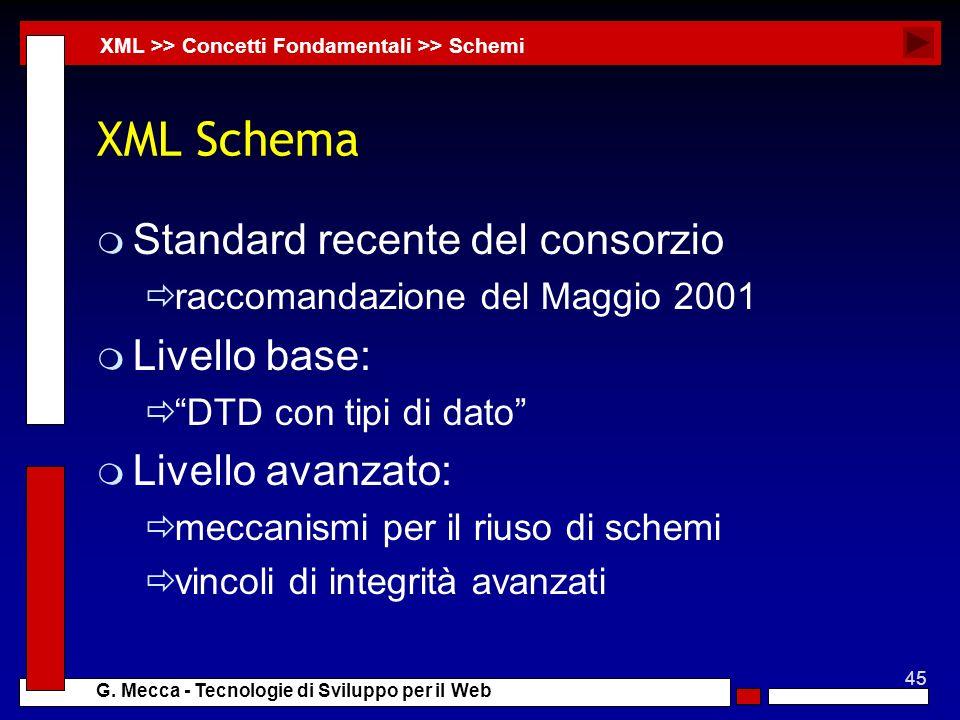 45 G. Mecca - Tecnologie di Sviluppo per il Web XML Schema m Standard recente del consorzio raccomandazione del Maggio 2001 m Livello base: DTD con ti