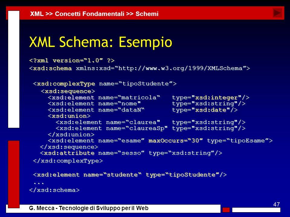 47 G. Mecca - Tecnologie di Sviluppo per il Web XML Schema: Esempio......</xsd:schema> XML >> Concetti Fondamentali >> Schemi