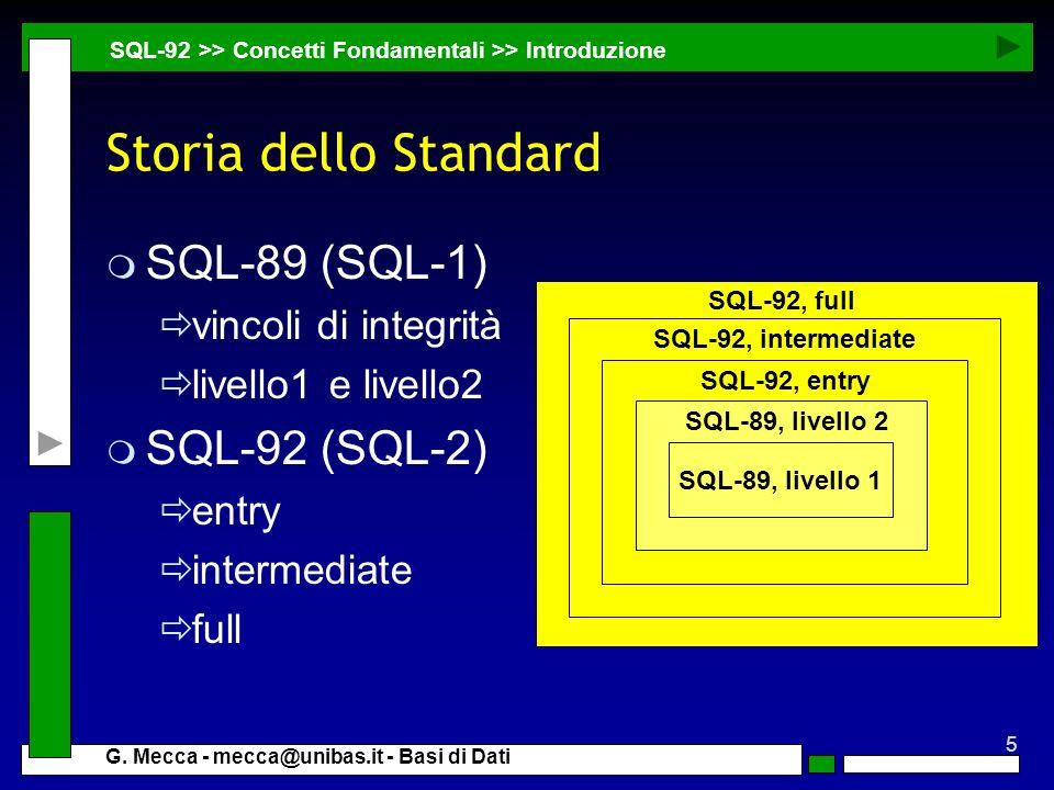 5 G. Mecca - mecca@unibas.it - Basi di Dati SQL-92, full SQL-92, intermediate SQL-92, entry Storia dello Standard m SQL-89 (SQL-1) vincoli di integrit