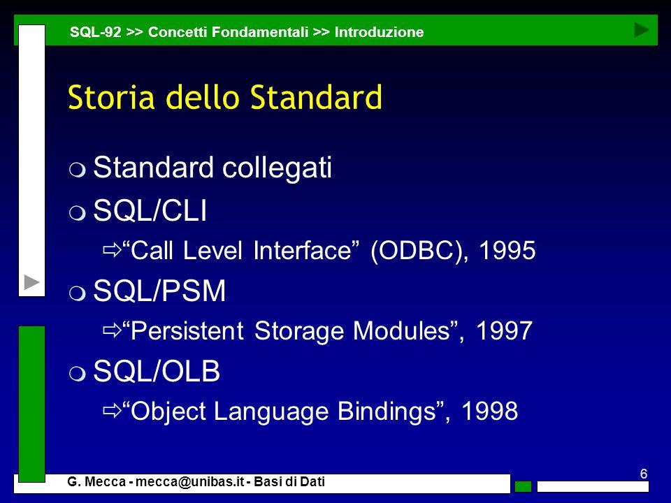6 G. Mecca - mecca@unibas.it - Basi di Dati Storia dello Standard m Standard collegati m SQL/CLI Call Level Interface (ODBC), 1995 m SQL/PSM Persisten