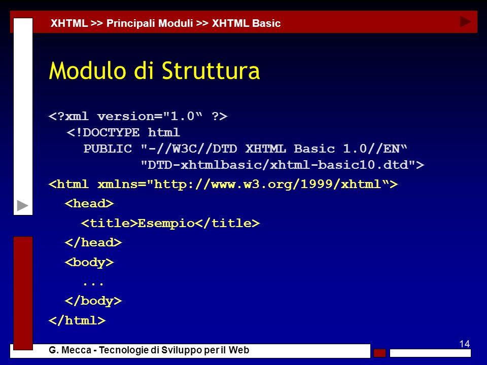 14 G. Mecca - Tecnologie di Sviluppo per il Web Modulo di Struttura XHTML >> Principali Moduli >> XHTML Basic Esempio...
