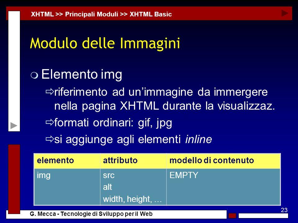23 G. Mecca - Tecnologie di Sviluppo per il Web Modulo delle Immagini m Elemento img riferimento ad unimmagine da immergere nella pagina XHTML durante