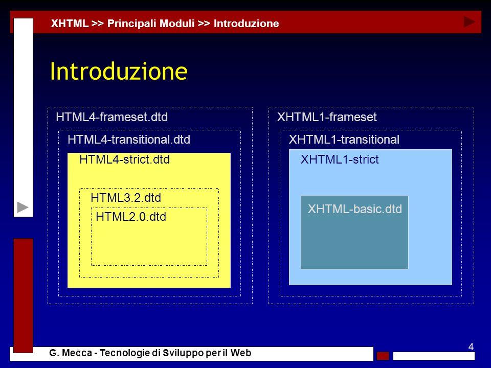 4 G. Mecca - Tecnologie di Sviluppo per il Web Introduzione XHTML >> Principali Moduli >> Introduzione HTML4-frameset.dtd HTML4-transitional.dtd HTML4