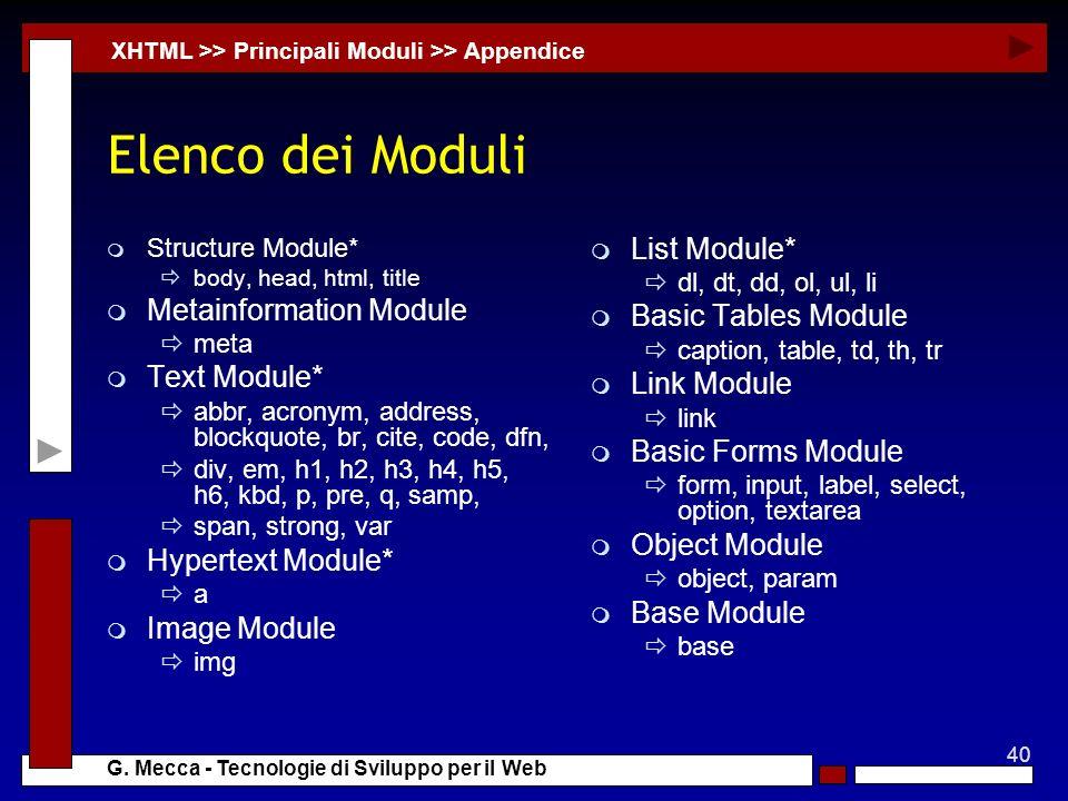 40 G. Mecca - Tecnologie di Sviluppo per il Web Elenco dei Moduli m Structure Module* body, head, html, title m Metainformation Module meta m Text Mod