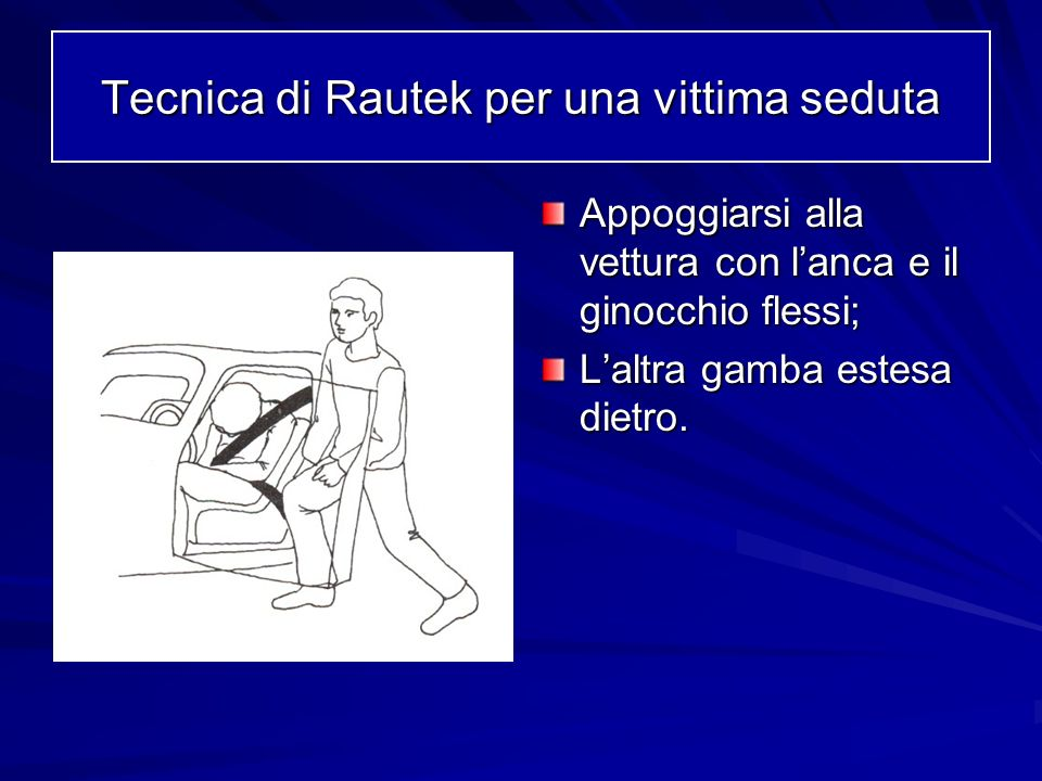 Appoggiarsi alla vettura con lanca e il ginocchio flessi; Laltra gamba estesa dietro. Tecnica di Rautek per una vittima seduta