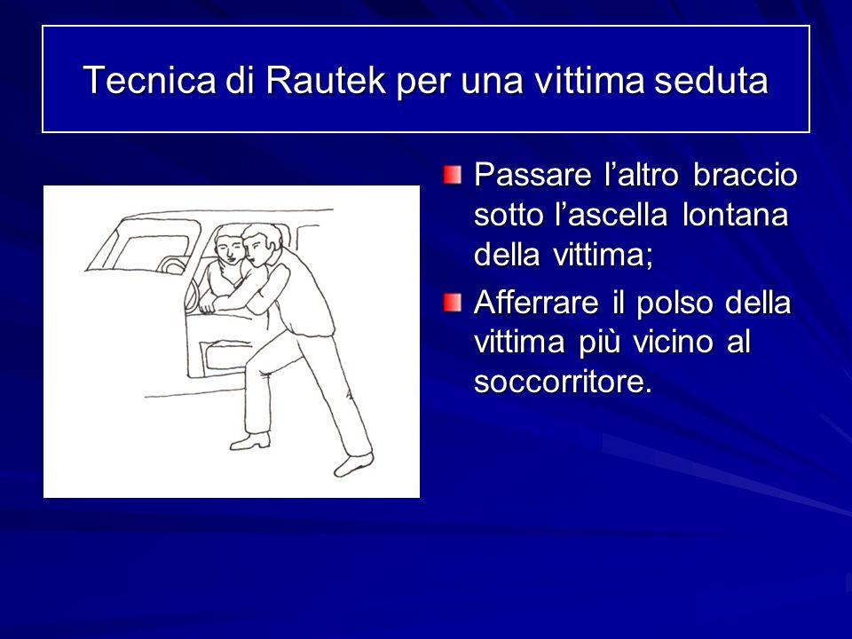 Passare laltro braccio sotto lascella lontana della vittima; Afferrare il polso della vittima più vicino al soccorritore. Tecnica di Rautek per una vi