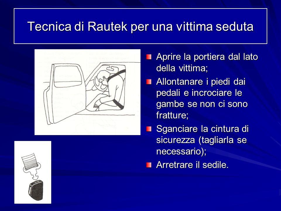 Tecnica di Rautek per una vittima seduta Aprire la portiera dal lato della vittima; Allontanare i piedi dai pedali e incrociare le gambe se non ci son