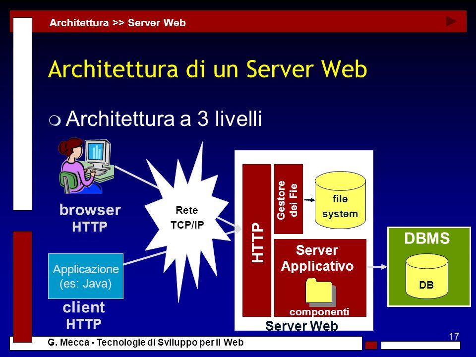 17 G. Mecca - Tecnologie di Sviluppo per il Web Server Web Architettura di un Server Web m Architettura a 3 livelli Architettura >> Server Web DB DBMS